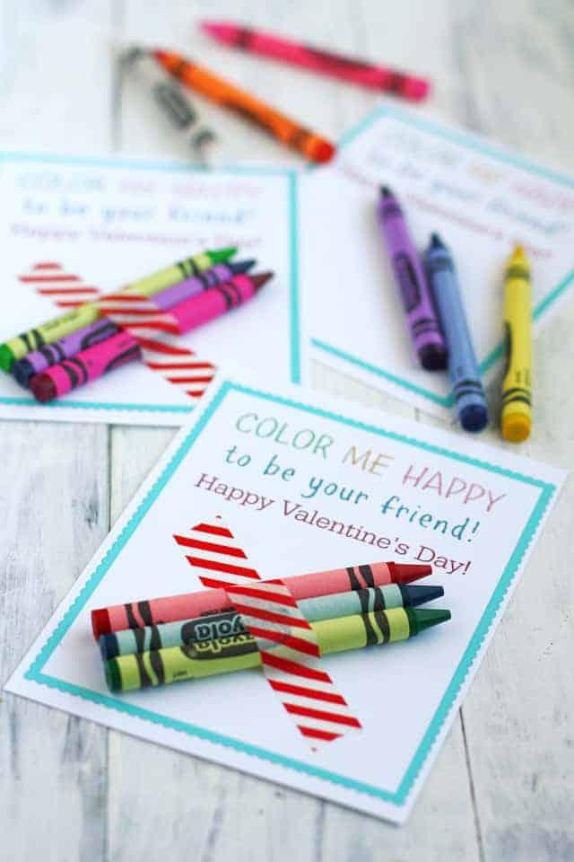 Color Me Happy Printable Kids Crayon Valentines.