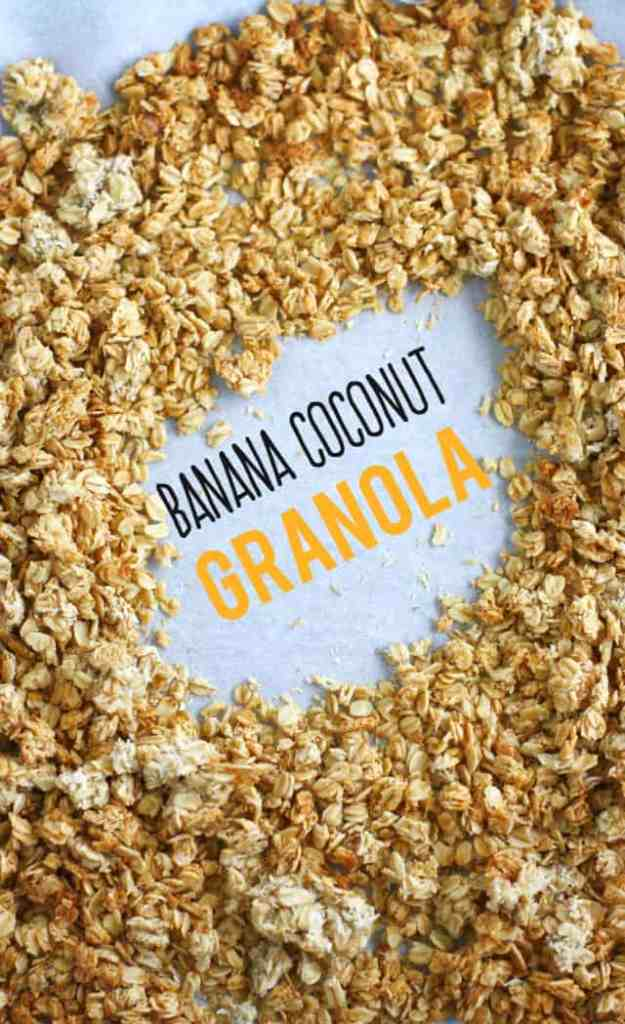 Easy and tasty banana coconut granola recipe - allergy free and delicious! #granola