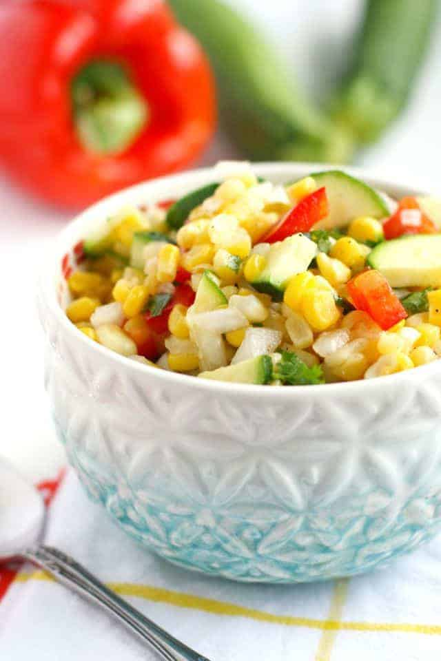 A fresh and colorful picnic corn salad - this is a great side dish for summer! #corn #salad