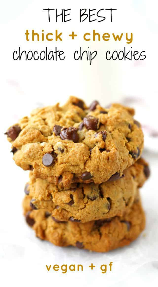 Thick and chewy chocolate chip cookies are perfect with a glass of milk. This delicious version is gluten free and vegan! #vegan #glutenfree #cookies