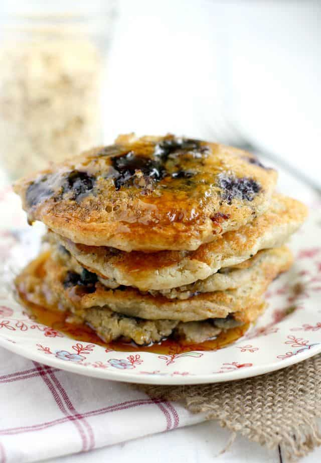 Delicious and easy blueberry pancake recipe that's perfect for the weekend! You'll love this family friendly recipe!