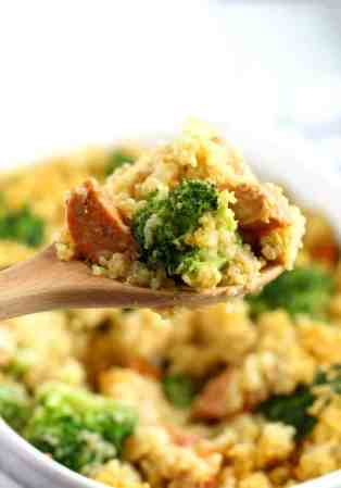 A cheesy, tasty quinoa casserole that's full of broccoli and sausage. Tasty and healthy comfort food! Gluten free recipe.