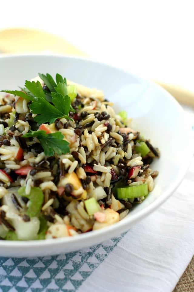 Citrus wild rice lentil salad with cranberries and apples - a tasty ...