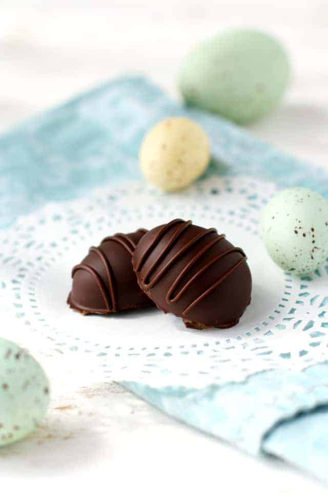 Dark chocolate caramel filled Easter eggs. Easy dairy free candy recipe.
