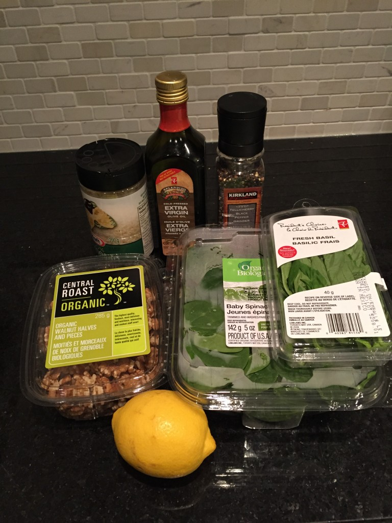Healthy pesto pasta ingredients