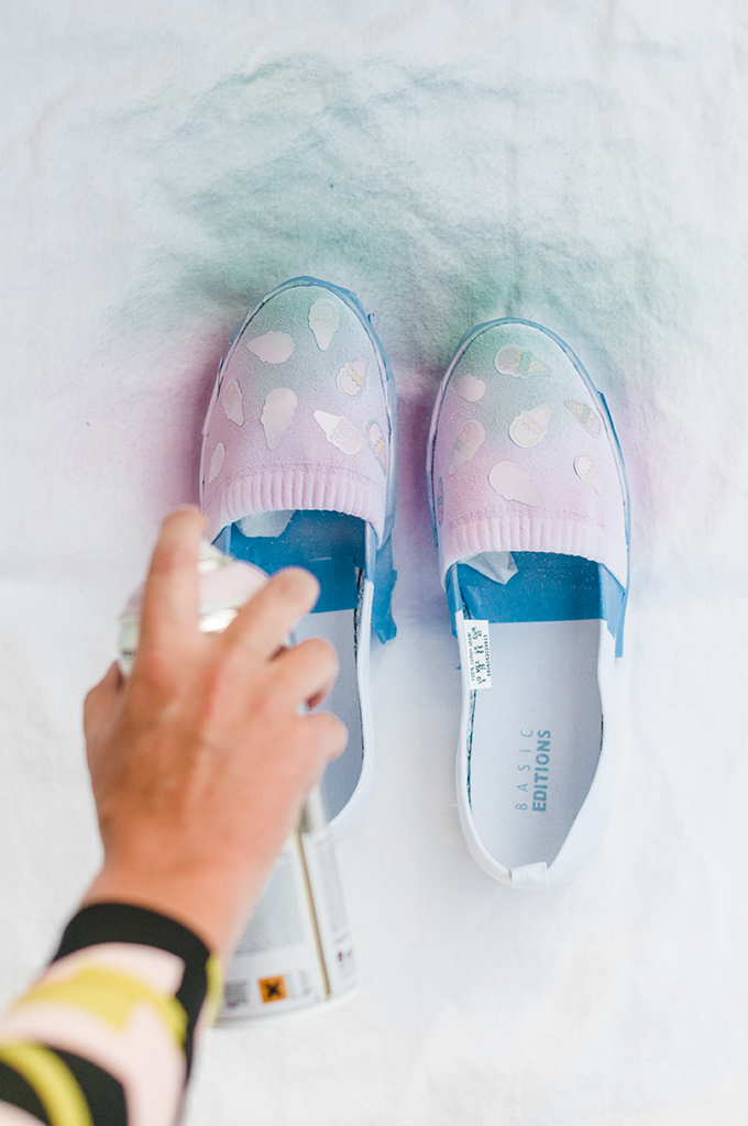 DIY Ombre Ice Cream Cone Shoes