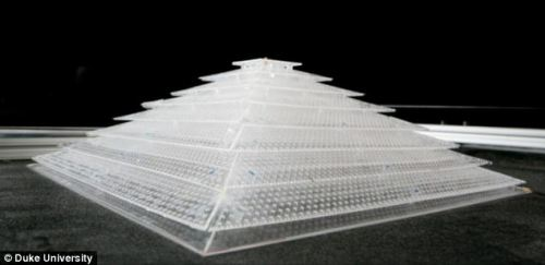 The sound cloak is made of perforated plastic sheets in a periodic pattern.