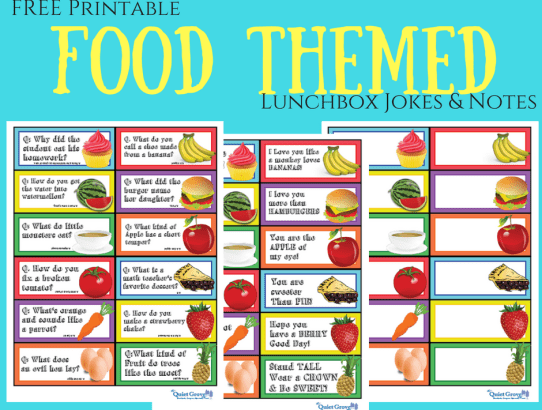 FREE Printable Food Themed Lunchbox Jokes & Notes!