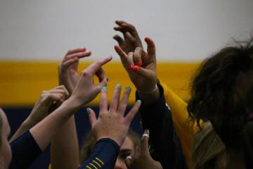 Although they lost, Texas Wesleyan's volleyball team fought hard throughout the game against Our Lady of the Lake University.