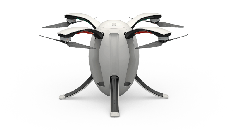The PowerEgg drone fully extended