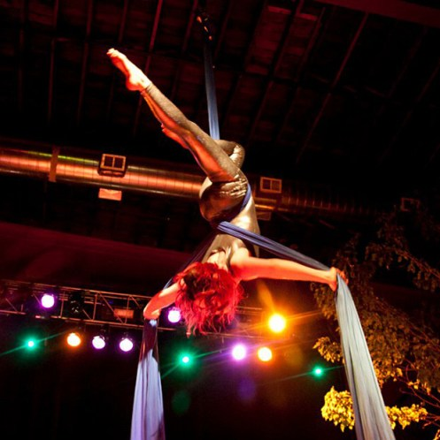 aerial circus troupe, aerial yoga performers