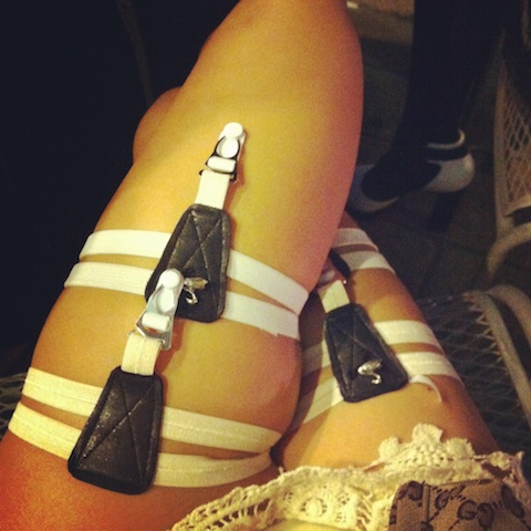 thereafterish, Lady Gaga White Rabbit, White Rabbit Halloween Costume, Halloween Honolulu, Swan Clothing Garters