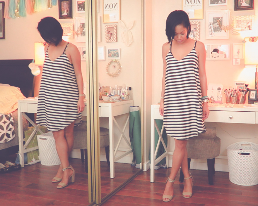 thereafterish, Zara & Revolve Clothing haul, Asian woman wearing Amuse Society silky black and white stripe dress