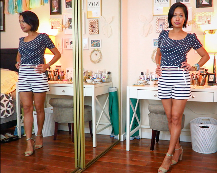 thereafterish, Zara & Revolve Clothing haul, Asian woman wearing nautical stripe high waist shorts with how to mix prints