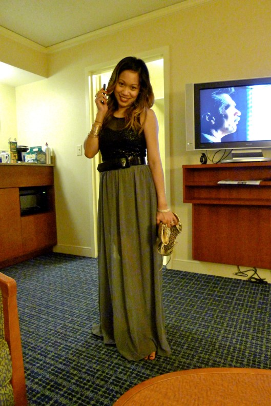 OOTD, Club Monaco Sequin Top, Sheer Maxi Skirt