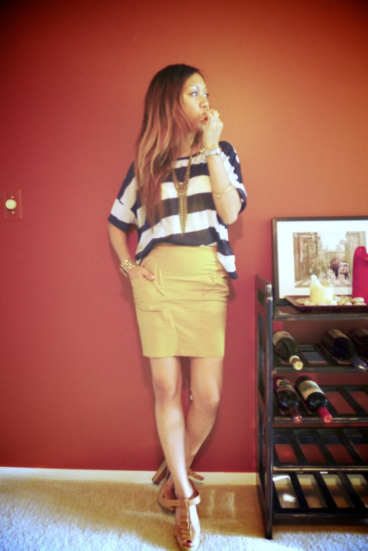 OOTD, Yellow Fin Pencil Skirt, Color Blocking