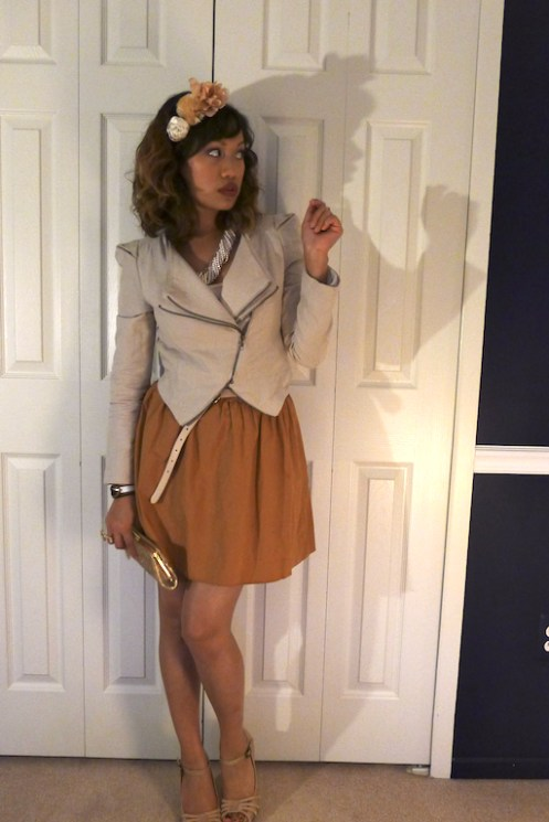 Jennifer Grey, cropped jacket, full skirt, nude heels, Dirty Dancing style