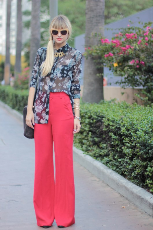 Late Afternoon, Red High-Waisted Wide Leg Trousers
