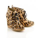 ShoeMint - Leopard wedge ankle boots