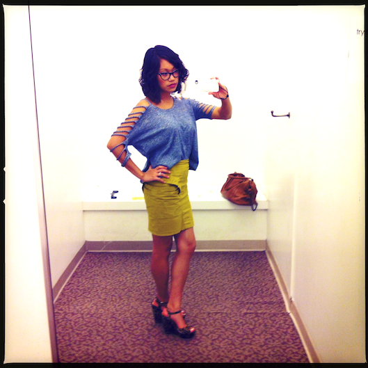OOTD, Hawaii Fashion, Shoulder Cut Outs, Citron Tulip Skirt