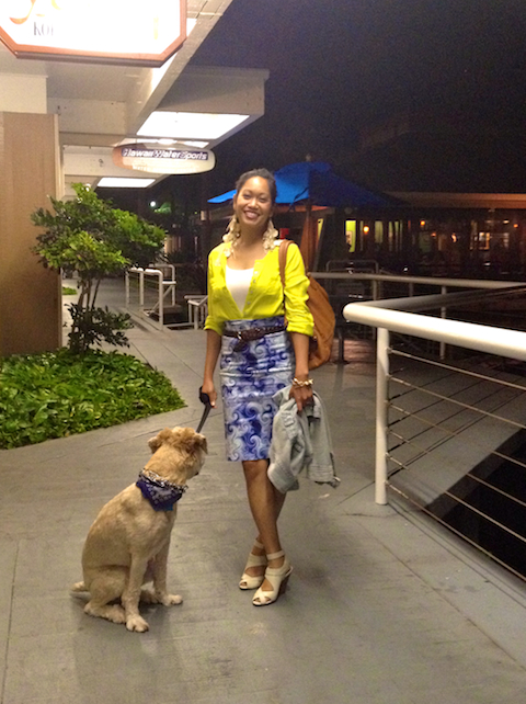 thereafterish, OOTD, Asian Street Style Fashion, Statement Skirt, Neon Button Down, Hawaii Street Style, Wheaten Terrier
