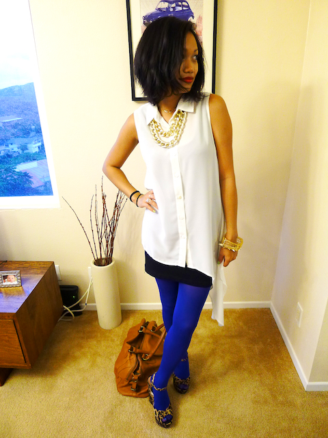 thereafterish, OOTD, snug camisoles, bra friendly tank slip, HRH Collection, HRH Cuff necklace, Blue Tights