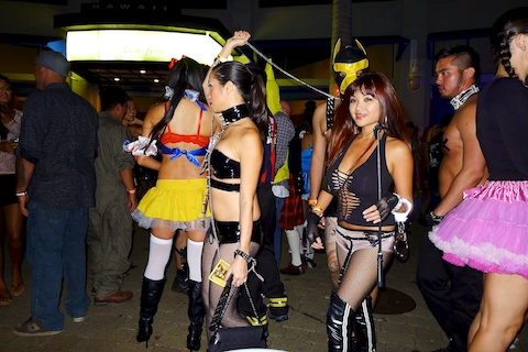thereafterish, Aloha Tower Halloween Party, dominatrix posse costume