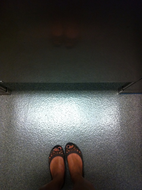 thereafterish, day in the life, awkward bathroom experience, foot shot bathroom