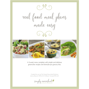 Real Food Meal Plans Made Easy | 4-week Gluten-free Meal Plan + Grocery List //simplynourishedrecipes.com/product/real-food-meal-plan/