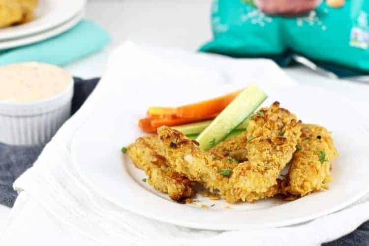 Baked Crispy Chicken Tenders with Buffalo Ranch