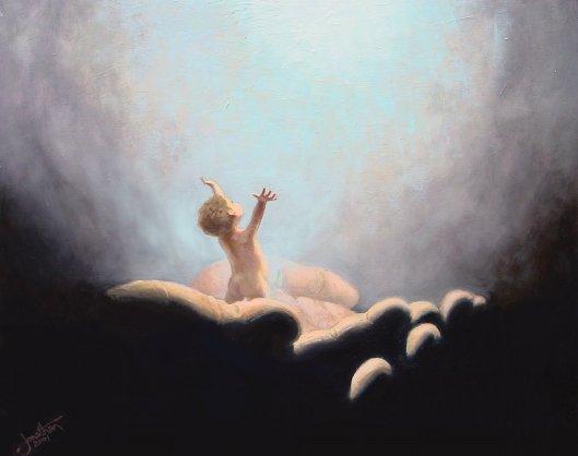 gods hands holding child