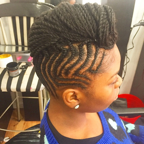 braided fauxhawk hairstyle