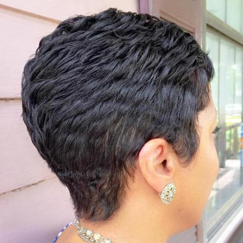 Short Choppy Black Pixie