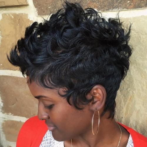 Black Curly Pixie Fauxhawk