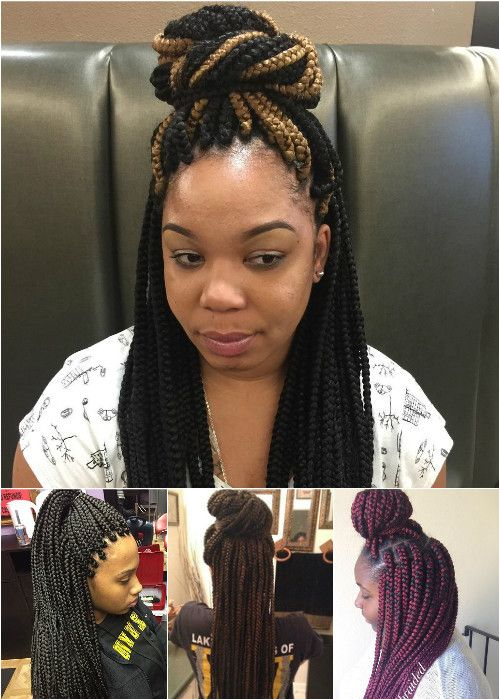 box braids half up buns