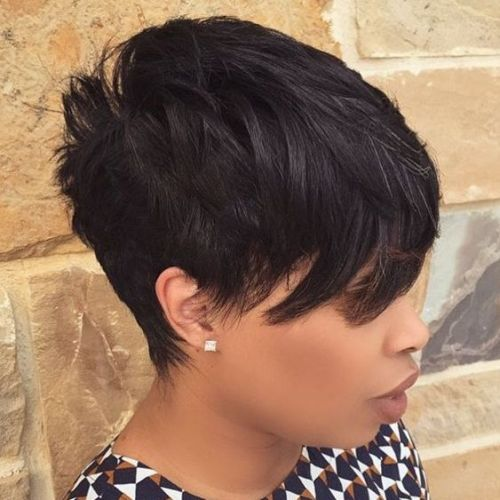 Choppy Black Pixie With Side Bangs