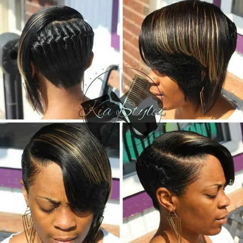Black Asymmetrical Braided Hairstyle
