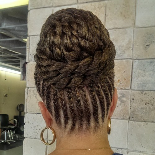 Cornrows With A Big High Bun