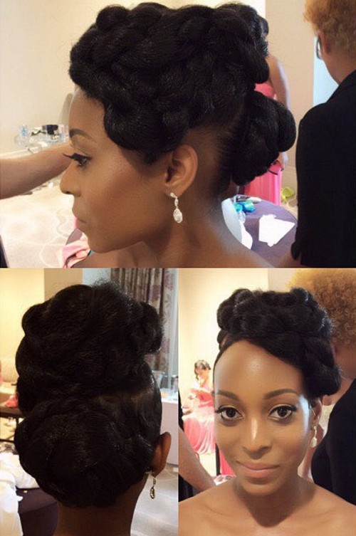 formal twisted updo for black hair