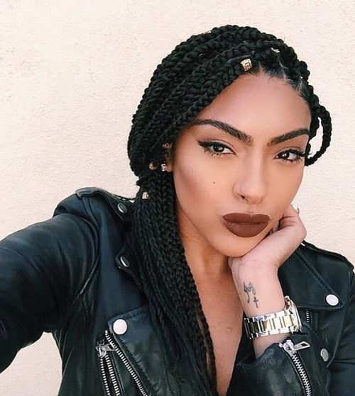 Simple Box Braids Hairstyle with Bead Embellishments - Braided Hairstyles With Natural Hair