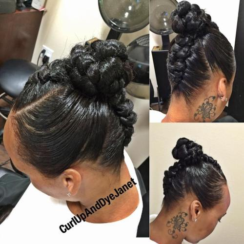 Black Mohawk Braid With A Bun