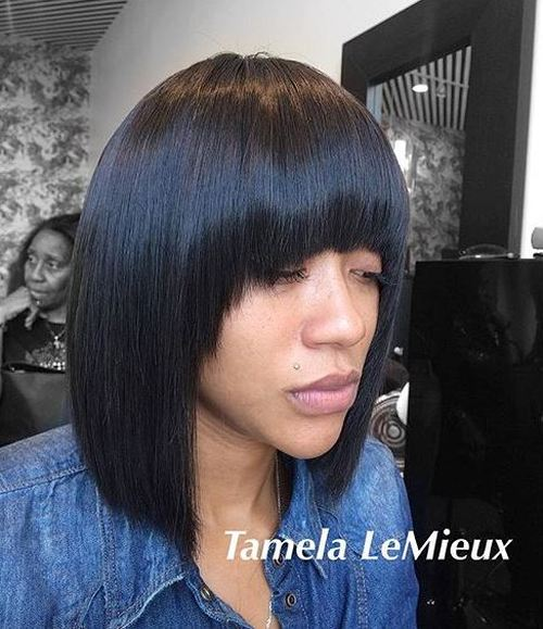 collar-bone straight bob with arched bangs