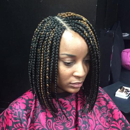 Black Bob Braids With Highlights