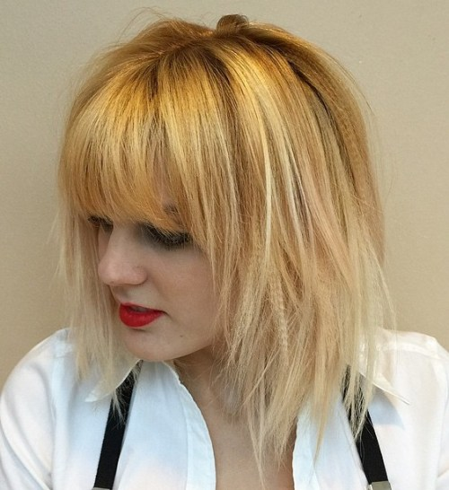 Golden Blonde Layered Bob With Bangs