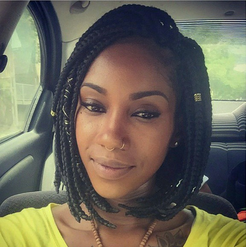 medium-length black braided hairstyle