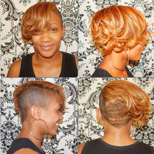 curly bob with a shaved side for black women