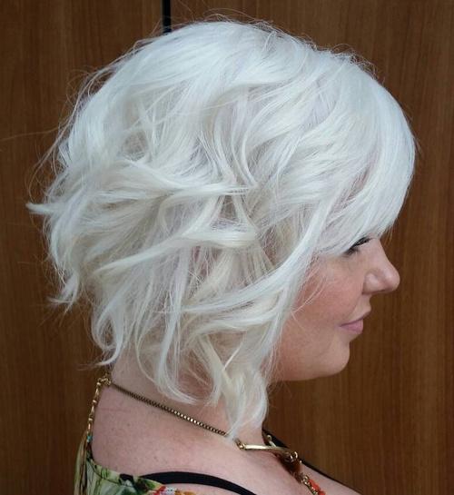 Wavy Silver Blonde Bob