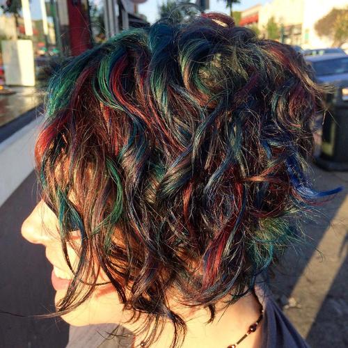 Short Rainbow Balayage For Brunettes