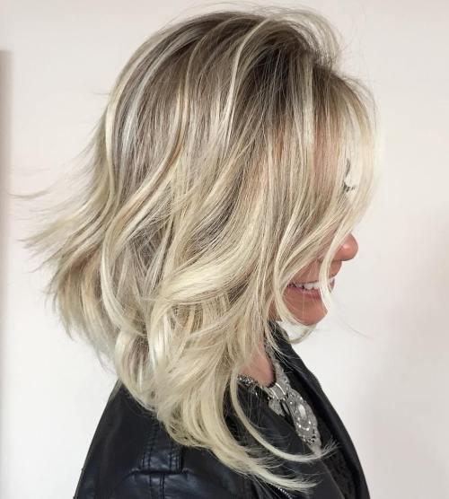 Angled Tousled Blonde Lob