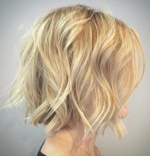 Blonde Tousled Wavy Bob